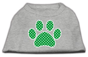 Green Swiss Dot Paw Screen Print Shirt Grey XXXL (20)