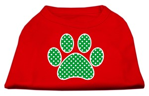 Green Swiss Dot Paw Screen Print Shirt Red Lg (14)