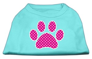 Pink Swiss Dot Paw Screen Print Shirt Aqua XXXL (20)
