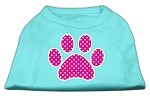 Pink Swiss Dot Paw Screen Print Shirt Aqua XS (8)