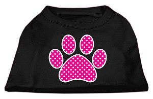 Pink Swiss Dot Paw Screen Print Shirt Black XS (8)
