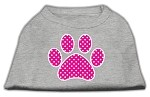 Pink Swiss Dot Paw Screen Print Shirt Grey XS (8)
