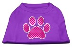 Pink Swiss Dot Paw Screen Print Shirt Purple XS (8)