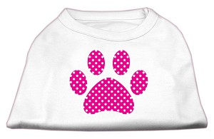 Pink Swiss Dot Paw Screen Print Shirt White L (14)