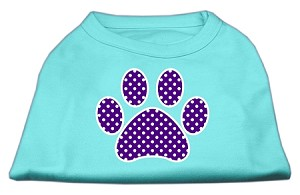 Purple Swiss Dot Paw Screen Print Shirt Aqua XS (8)
