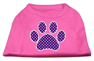 Purple Swiss Dot Paw Screen Print Shirt Bright Pink XS (8)