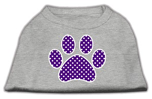 Purple Swiss Dot Paw Screen Print Shirt Grey XS (8)
