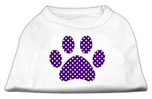 Purple Swiss Dot Paw Screen Print Shirt White XS (8)