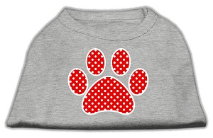 Red Swiss Dot Paw Screen Print Shirt Grey XXXL (20)