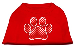 Red Swiss Dot Paw Screen Print Shirt Red XXL (18)
