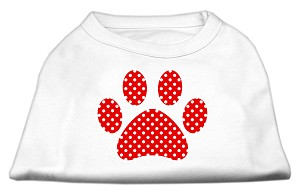 Red Swiss Dot Paw Screen Print Shirt White XL (16)