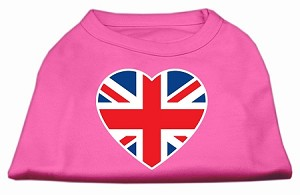 British Flag Heart Screen Print Shirt Bright Pink Lg (14)