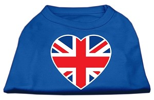 British Flag Heart Screen Print Shirt Blue XS (8)