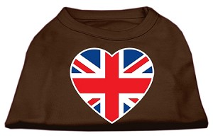 British Flag Heart Screen Print Shirt Brown XS (8)