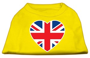 British Flag Heart Screen Print Shirt Yellow XS (8)