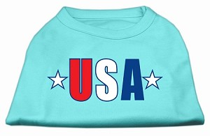 USA Star Screen Print Shirt Aqua Lg (14)