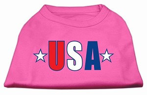 USA Star Screen Print Shirt Bright Pink XL (16)