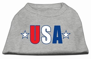 USA Star Screen Print Shirt Grey Med (12)