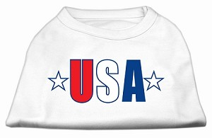 USA Star Screen Print Shirt White Sm (10)