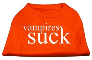 Vampires Suck Screen Print Shirt Orange XS (8)