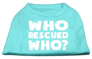Who Rescued Who Screen Print Shirt Aqua Lg (14)