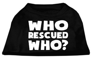 Who Rescued Who Screen Print Shirt Black XXL (18)