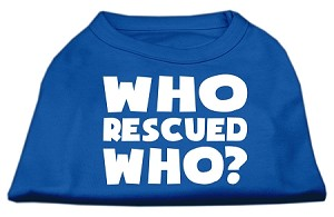Who Rescued Who Screen Print Shirt Blue Med (12)