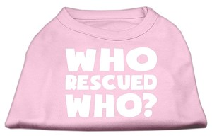 Who Rescued Who Screen Print Shirt Light Pink XS (8)