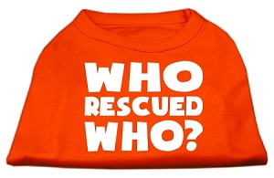 Who Rescued Who Screen Print Shirt Orange Sm (10)