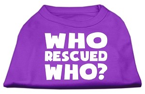 Who Rescued Who Screen Print Shirt Purple XXL (18)