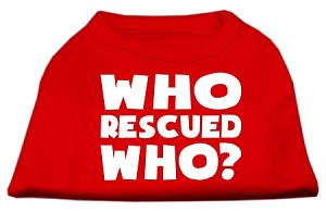 Who Rescued Who Screen Print Shirt Red XXXL (20)