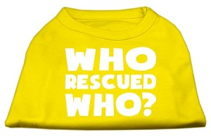 Who Rescued Who Screen Print Shirt Yellow XXXL (20)
