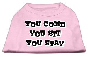 You Come, You Sit, You Stay Screen Print Shirts Light Pink XS (8)