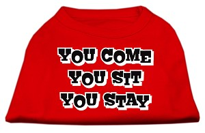 You Come, You Sit, You Stay Screen Print Shirts Red XXXL(20)