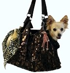 Black with Animal Foil RunAround Pet Carrier Tote