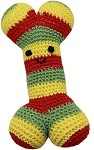Knit Knacks Bob the Rasta Bone Organic Small Dog Toy