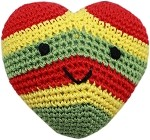Knit Knacks Hempy the Rasta Heart Organic Small Dog Toy