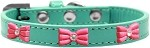 Pink Glitter Bow Widget Dog Collar Aqua Size 10