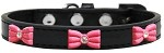 Pink Glitter Bow Widget Dog Collar Black Size 10