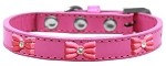 Pink Glitter Bow Widget Dog Collar Bright Pink Size 10