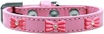Pink Glitter Bow Widget Dog Collar Light Pink Size 10