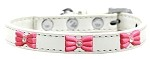 Pink Glitter Bow Widget Dog Collar White Size 10