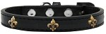 Bronze Fleur De Lis Widget Dog Collar Black Size 10
