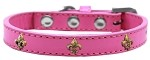 Bronze Fleur De Lis Widget Dog Collar Bright Pink Size 10