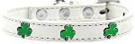 Shamrock Widget Dog Collar White Size 10