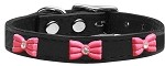 Pink Glitter Bow Widget Genuine Leather Dog Collar Black 10