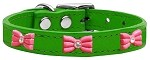 Pink Glitter Bow Widget Genuine Leather Dog Collar Emerald Green 10