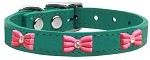 Pink Glitter Bow Widget Genuine Leather Dog Collar Jade 10