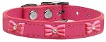Pink Glitter Bow Widget Genuine Leather Dog Collar Pink 10