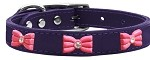 Pink Glitter Bow Widget Genuine Leather Dog Collar Purple 10